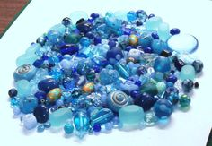 Mixed Lot of 10.1 Oz. of Beads in Blue by BeadsFromHaven on Etsy, $12.65