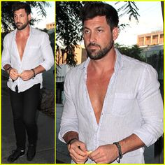 Maksim Chmerkovskiy shows a little chest with an unbuttoned shirt while heading to dinner at Madeo on Wednesday night (August 13) in West Hollywood, Calif. Description from justjaredjr.com. I searched for this on bing.com/images