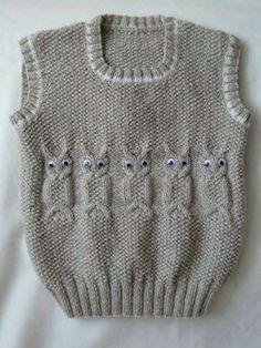 2016 Baby Boy Vest With Model - super koristelu ideoita Baby Knitting Patterns, Baby Boy Knitting, Knitting For Kids, Knitting Designs, Crochet Patterns, Baby Knits, Free Knitting, Cardigan Bebe, Baby Cardigan