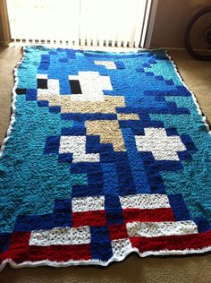 Sonic Crocheted Granny Square Blanket by RachelsCraftStore