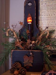 Prim Candle Box...with canes & pine...The Olde Weeping Cedar.