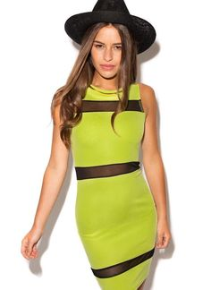 Green Cocktail Dress - Lime Green Sleeveless Dress with | UsTrendy #cocktaildress #limegreendress