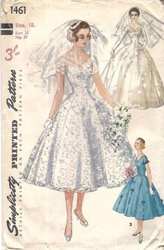 Vintage 1950's Sewing Pattern Grace Kelly Wedding Gown,Veil & Head-piece B 36""