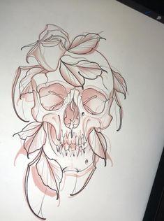 Deer Skull Tattoos, Skull Tattoo Flowers, Skull Tattoo Design, Skull Design, Dibujos Tattoo, Desenho Tattoo, Tattoo Sketches, Tattoo Drawings, Neo Tattoo