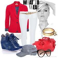 wedge sneakers outfit - blue and red