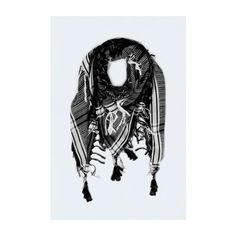 Keffiyeh Scarf ❤ liked on Polyvore featuring accessories, scarves, black scarves and black shawl