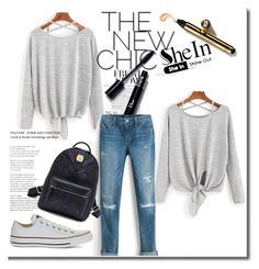 """School look"" by mela-besic ❤ liked on Polyvore featuring White House Black Market and Converse"
