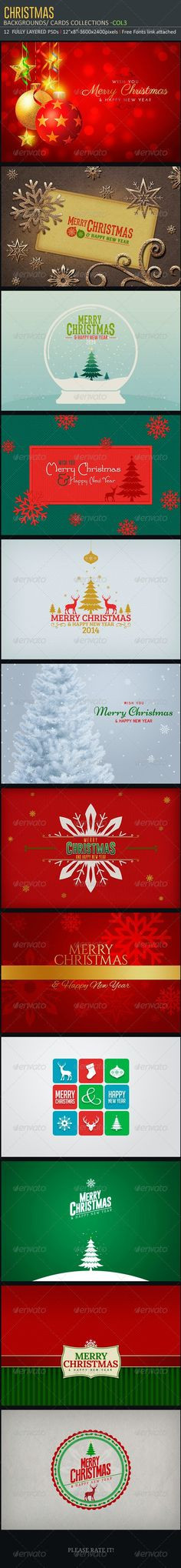 Christmas Backgrounds-Cards -Col3 by creativeartx | GraphicRiver