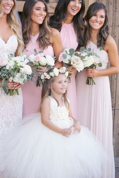 Flower girl in tulle with a flower crown