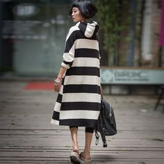 Casual Stripe Hood Dress Women Clothes Q6115B