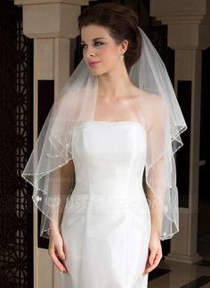 Wedding Veils - $16.99 - Two-tier Fingertip Bridal Veils With Pencil Edge (006036604) http://jjshouse.com/Two-Tier-Fingertip-Bridal-Veils-With-Pencil-Edge-006036604-g36604