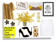 """Yellow Flower Print Blouse Contest"" by silvanamatja ❤ liked on Polyvore featuring Americanflat, Casetify, Topshop, The French Bee, Liz Claiborne, Effy Jewelry, Furla, white, yellow and Flowers"
