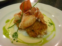 Sweet Potato Cakes with Maine Lobster and Vermouth Cream