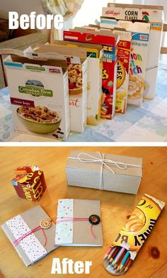 Recycling cereal boxes into items you can use! Celebrate Earth Day idea! Or... Themed maker space (change monthly/term)?!?!?!