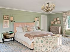 Sublimely serene shades of sage green and ivory dominate the bedroom's color scheme. - Photo: Tim Street-Porter / Design: Louise Voyazis