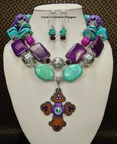 Cowgirl Western Statement Necklace Set / Purple & Turquoise Howlite Gemstone Statement Necklace / Chunky Cross Pendant Necklace Set - Marcia by CayasCreativeDesigns on Etsy