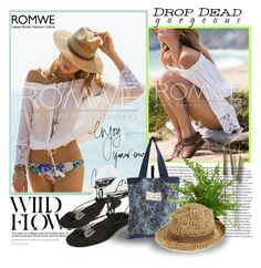 """""""Romwe #1"""" by alexhosze ❤ liked on Polyvore featuring The French Bee, August Hat, Summer, beach and romwe"""