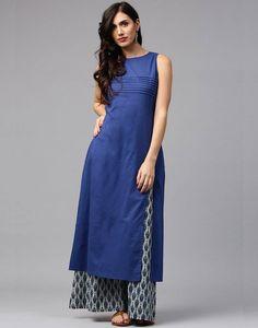 Indigo ethnic tunic Plazzo block print pants Ethnic cotton dress Cotton dress Indian fashion In Kurta Designs Women, Kurti Neck Designs, Salwar Designs, Blouse Designs, Indian Dresses, Indian Outfits, Salwar Suit Pattern, Kurti With Jeans, Frock Fashion