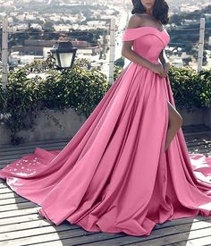 64b0a37706 Hot Sale 2019 Pink Evening Dresses Sexy V Neck Off the Shoulder Satin A  Line Elegant Long Prom Party Gown Vestido de Festa Curto. Ericdress Reviews