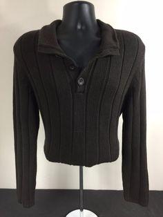 Men's Calvin Klein XL (Extra Large) Cotton Sweater Thick Collar Quarter Button #CalvinKlein #QuarterButtonPullOver