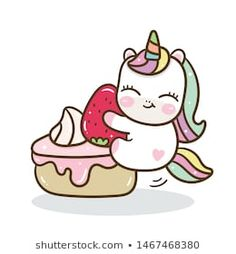 Cute Unicorn vector with sweet cake, Happy birthday party, Kawaii animal pony cartoon, Doodle style Nursery decoration, hand drawn on white background: Illustration of fairytale horse- Perfect for kid Doodles Kawaii, Cute Kawaii Drawings, Kawaii Chibi, Cute Chibi, Unicorn Drawing, Unicorn Art, Unicorn Illustration, Cute Illustration, Baby Unicorn