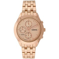 Geneva Womens Multifunction-Look Rose-Tone Bracelet Watch ($26) ❤ liked on Polyvore featuring jewelry, watches, bracelet watch, geneva jewelry, dial watches, geneva wrist watch and sporty watches