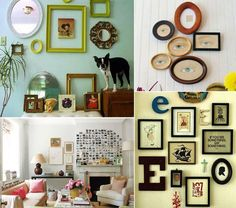 I LOVE this idea!  Put on the accent wall. Could also use coordinating fabric to fill some of the frames.