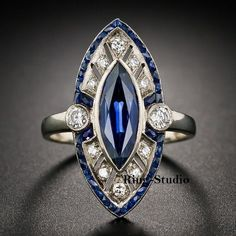 Art Deco Marquise Blue Sapphire Diamond Engagement Wedding Ring Sterling Silver #RingStudio #SolitairewithAccents