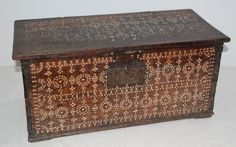 """Philippine Shell Inlay Chest, early 1900s   Carved rectangular wood chest with pearl shell inlay on front 2 sides and top   From the Moro people of Southern Philippines with a Muslim tradition in shell inlay dowry chests. 22.5""""w x 10.5""""d x 10.25""""h early 1900s"""