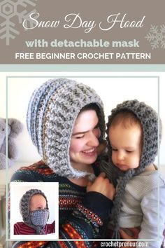 What a perfect solution for frozen cheeks! The Snow Day Hood with removable mask keeps your face warm even in the harshest freezing winds. The detachable mask makes it great for everyday wear, too! And there are instructions to make the hood for the whole Crochet Mask, Crochet Baby Hats, Crochet Beanie, Free Crochet, Crochet Hat For Women, Knitted Hat, Kids Winter Hats, Warm Winter Hats, Crochet Hood