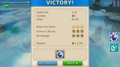 "Menu screen from the android game ""Sky to fly"" - level completed"