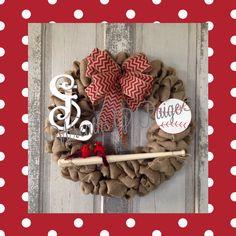 St Louis Cardinals Wreath. Burlap. Baseball.