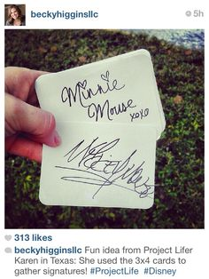 From Becky Higgins' Instagram: collect signatures form Disney on project life cards.