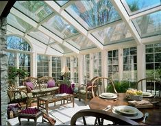 Purple-inspired room with partitioned glass ceiling