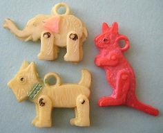 VTG Celluloid JOINTED TOY ANIMALS Cracker Jack Charms Lot 1940's Dog Elephant