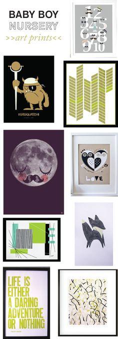 baby boy nursery art! Mustache moon! Adventure. Owl love. Mustard herringbone.