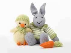 Easter Bunny and Chick in Deramores Baby DK - By Amanda Berry Easter Presents, Knitting Books, Knitting Needles, Easter Bunny, Little Ones, Pattern Design, Knit Crochet, Knitting Patterns, Dinosaur Stuffed Animal