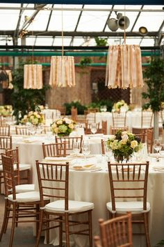 Ribbon Chandeliers hanging above certain guest tables at The Horticulture Center, Philadelphia {Design: TableArt | Photo: Philip Gabriel Photography}