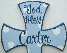Hand painted personalized boys blue white and navy by BellaLouart, $35.00