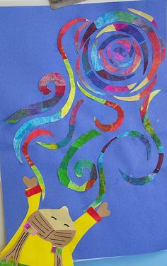 LOVE- Catching Van Gogh Swirls (grade layered tissue paper cut into circles, then spirals, then segments and add extra pieces for movement. 2nd Grade Art, Grade 2, Arte Van Gogh, Art Texture, Ecole Art, School Art Projects, Art School, Spring Art, Art Lessons Elementary