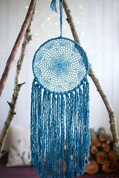 Blue dream catcher Large Blue dreamcatcher Turquoise