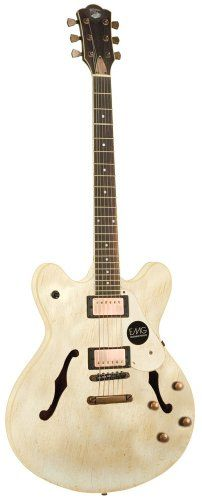 Save $ 143.42 order now AXL Badwater Semi-Hollow Electric Guitar, Antique Off Wh