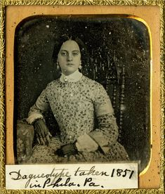 Maria L. Smiley wearing a Jenny Lind collar. Enlarged reproduction of a 1/6 plate daguerreotype, 1851. </a>