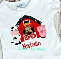 Barnyard applique child's shirt por SouthernACEDesigns en Etsy