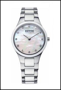 d59b25d504d NEW Bering Lds White Ceramic bracelet watch crystal set MOP dial 199
