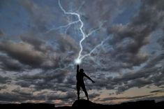 Photo about Silhouette of a man on the hill out of the hand produces lightning. Image of electrical, powerful, nature - 22088281 Book Aesthetic, Character Aesthetic, Lightning Final Fantasy Xiii, Lightning Drawing, Lightning Tattoo, Zeus Children, Lightning Powers, Lightning Storms, Das Experiment