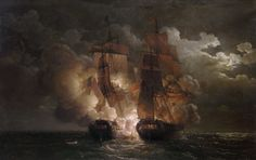 Louis Philippe Crepin  Battle Between the French Frigate 'Arethuse' and the English Frigate 'Amelia' in View of the Islands. I plan on a copy of this painting filling up one wall in my MAN CAVE! Via: http://www.art-prints-on-demand.com/a/crepin-louis-philippe/battle-between-the-french.html