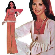 "Vintage Marlo Thomas! McCall's 1975 Marlo's Corner ""Carefree"" Sewing Pattern 4762 Misses' Dress or Top and Pants, Size 8, ""Petite-able"" by karl79 on Etsy"