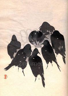Wood block print of crows
