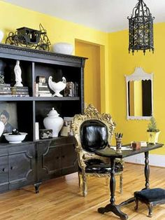 Love the buffet for a kitchen idea - interesting mix. Like yellow mixed with the black.